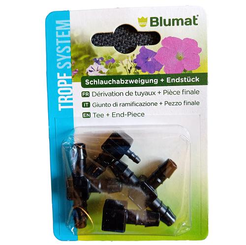 Dérivation T 8mm et embout fin de ligne Blumat - Pack de 2