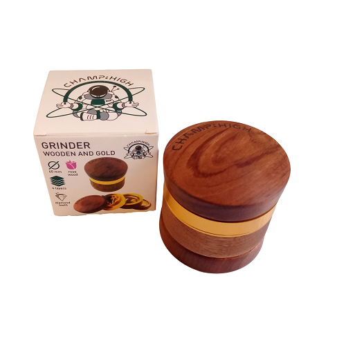 Grinder Wooden and Gold 60mm 4 parties