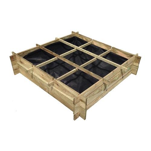 Potager en bois naturel de pin pour 9 plantes modèle SAMOS